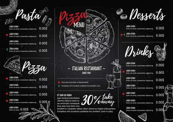 Hand drawn vector illustration - Italian menu. Pasta and Pizza.