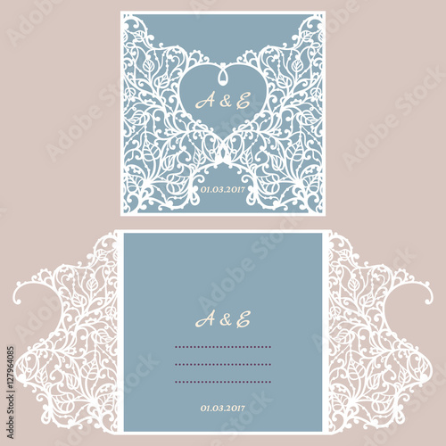 Wedding invitation or greeting card with abstract ornament vector wedding invitation or greeting card with abstract ornament vector envelope template for laser cutting stopboris Images