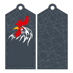Sticker depicting the head of a rooster - the symbol of the new