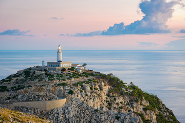 Lighthouse at Cap de Formentor on Majorca in the morning, Majorca, Balearic Islands, Spain, Europe