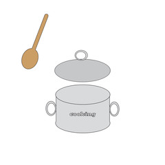 Pot with wooden spoon.