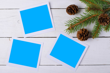 Christmas cards for your photos and inscriptions on the wooden b