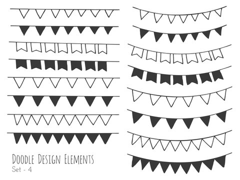 Collection of hand drawn doodle design elements isolated on white background. Set of handdrawn borders. Bunting flags, banners. Abstract hand sketched shapes. Vector illustration.