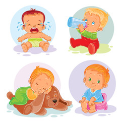 Set of vector icons  toddlers