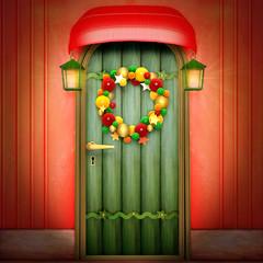 Door with Christmas wreath