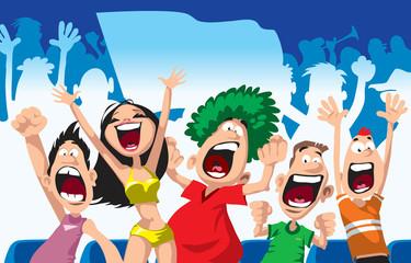 Cartoon sport fans. Vector illustration