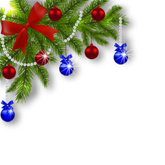 Christmas card. Green branches of a Christmas tree with blue, red balls and ribbon on a white background. Angular. Christmas decorations. illustration