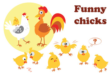 Cute cartoon chicken and rooster with chickens.