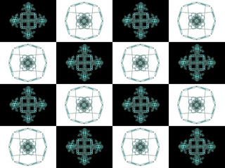 Texture with black and white square cell fractal