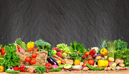 Fototapete - Organic vegetables and fruits