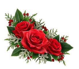 Red rose flowers corner arrangement