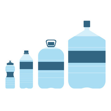 Set of plastic bottles with water. Small, big, sport bottle of water. With label. Vector illustration