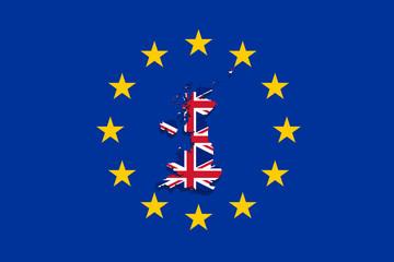 United Kingdom map with flag on Euro Union background