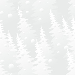 Vector seamless pattern with gray fir-tree. Stylish forest texture.