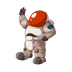 Colorful vector illustration of a cartoon expedition member, astronaut or a cosmonaut in suit on mars or in space.