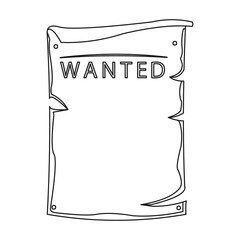 Wanted icon outline. Singe western icon from the wild west outline.