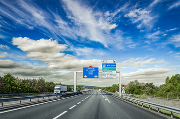 View on the motorway in France.