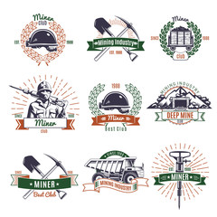 Mining Industry Emblems Set