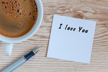 lovely greeting card - I love You - romantic message near mornin coffee mug
