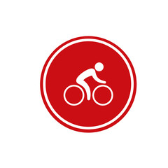 No bicycle vector sign in red circle. No parking bicycle icon. Vector illustration. Red no bicycle road sign.