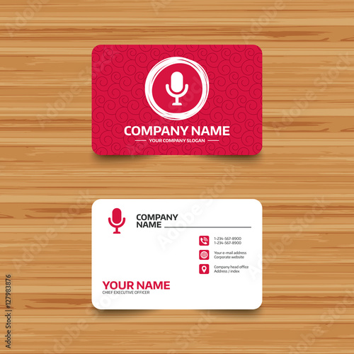 Business card template with texture microphone icon speaker symbol business card template with texture microphone icon speaker symbol live music sign reheart Images