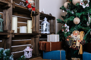 room decorated for Christmas vintage stile