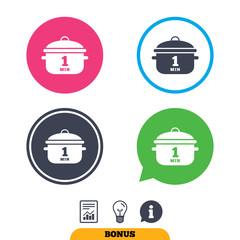 Boil 1 minute. Cooking pan sign icon. Stew food symbol. Report document, information sign and light bulb icons. Vector