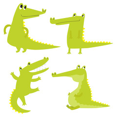 Vector set with happy fun crocodiles. Cartoon smiling alligators