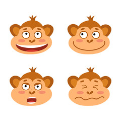 Vector set with monkey emotion faces. Cute little monkeys.