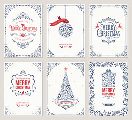 Ornate vertical winter holidays greeting cards with New Year tree, gift box, Christmas ornaments and typographic design.