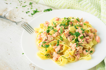 Tagliatelle with Salmon and Parsley