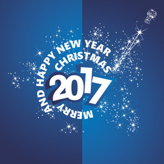 Christmas New Year 2017 firework stars blue vector