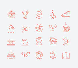 Line Holiday Christmas Icons Set. Vector Set of 20 New Year Holiday Modern Line Icons for Web and Mobile. Winter Season Icons Collection