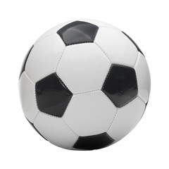 Close up studio shot of soccer ball isolated on white background