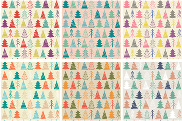 Set of six seamless Christmas vector pattern with colorful fir-trees