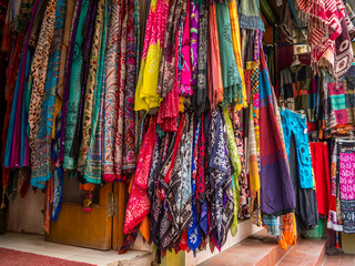 Nepali Store Front Displaying Many Scarves