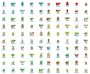 Mega collection of futuristic abstract business logo icons