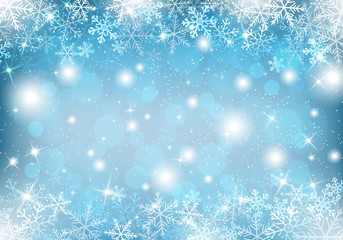 Winter background with snow and snowflakes Vector