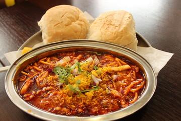 Indian food breakfast misal pav