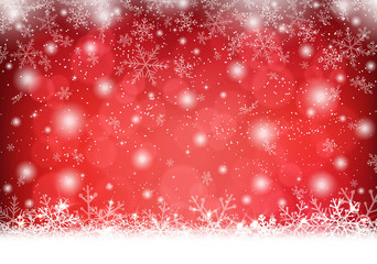 Christmas background with snow and snowflakes Vector