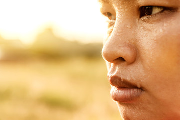 Closeup  sweating on asian face . Exercising In the Park