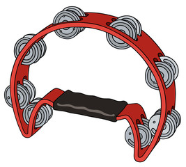 Hand drawing of a red tambourine