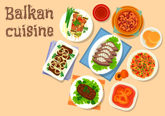 Balkan cuisine meat and vegetable dishes icon