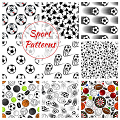 Sporting ball, items and trophy seamless pattern