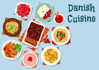 Danish and scandinavian cuisine dishes icon