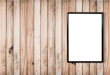 blank poster photo frame on wood wall