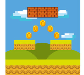 pixel videogame interface with gold coins. . Colorful design. vector illustration