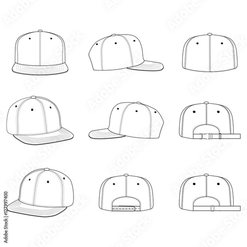 fc0eeec38c0 SNAPBACK CAP fashion flat technical drawing template