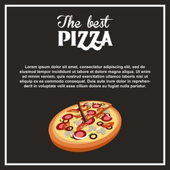 hot pizza icon over black background. fast food concept. colorful design. vector illustration