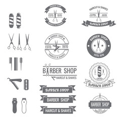 set of barber icon badge and logo